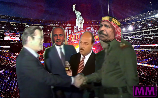 Donald Rumsfeld meets with the Iron Sheik and Hulk Hogan in December 1983, to discuss the implications of their upcoming title match for American policy in the Middle East.